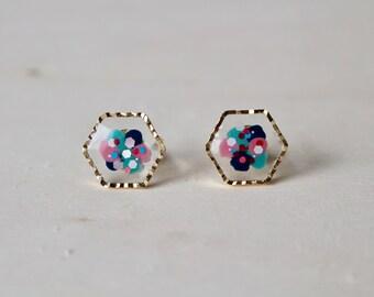 Handmade stud earrings, hand painted earrings, hexagon earrings, clear earrings, colourful earrings, small earrings