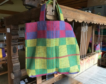 Shopping bag hand-woven, green, yellow, red, blue checkered