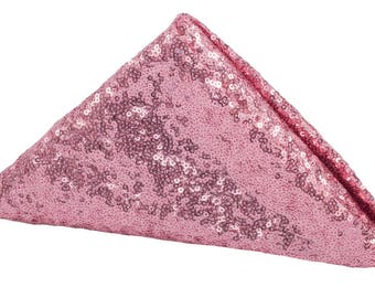 4 PACK Pink Sequin Napkins Dinner Fancy Wedding Table Setting Boho Dinnerware Cloth Sparkly Wholesale Sequin Napkin Sale Glitter Baby Shower