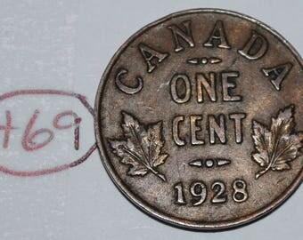 Canada 1928 1 Small cent Canadian one George V Penny coin Lot #H69