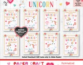 Unicorn Valentine Cards | Printable Classroom Valentines | Classroom Exchange Cards | By Paper Craft Valentines