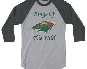 Minnesota Wild Hockey Kings of The Wild 3/4 sleeve Mens raglan shirt