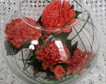 Exquisite Dark Coral Chrysanthemums,Graceful Green Leaves  Looped Green Grass  in a Bowl Glass Dried Natural Flowers