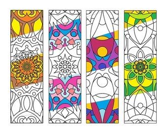 Printable Mandala Coloring Bookmarks -Art Therapy-Antistress-Coloring for Relaxation-Instant Digital Download - Bookmarks 002