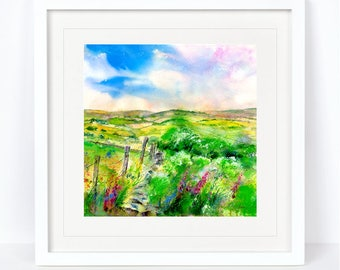 A Perfect Day - Landscape, Derbyshire scene. Printed from an Original Sheila Gill Watercolour. Fine Art,Giclee Print,Hand Painted,Home Decor