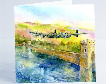 Avro Lancaster Bomber - Dam Buster Greeting Card - Taken from an original watercolour by Sheila Gill