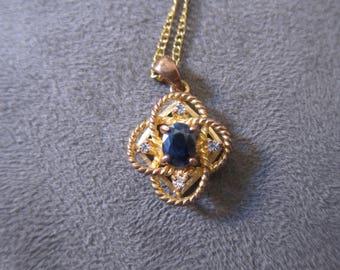 Vintage Avon Necklace with Blue Gem Pendant