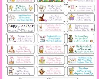 Personalized EASTER Address Labels, Spring, Bunny, Eggs, Chicks Return Address, Sets of 30