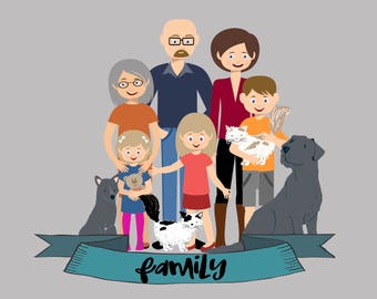 Personalized Digital Portraits for up to 10 total people/pets - Digital Download