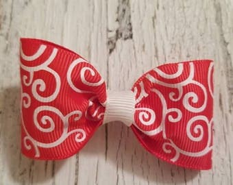 Red with White Swirl print Bow on French barrette