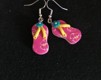 Polymer Clay Flip Flop Earrings