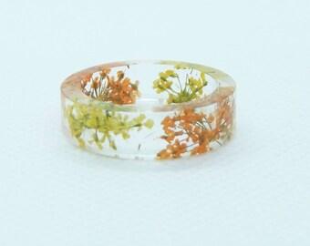 Real flower resin ring