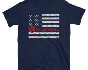 Volleyball American Flag T Shirt Funny Cute Gift Tee