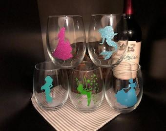 Disney Princess Wine Glass
