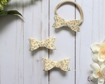 Baby Bow-Baby Headband-Baby Bow Headband-Toddler Bow Hair Clip-Floral Baby Bow-Floral Baby Bow Headband-Baby Bow Hair Accessories
