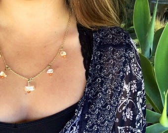 Delicate charm necklace with citrine chunks