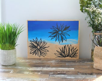 Original Wood Painting- Sunflowers