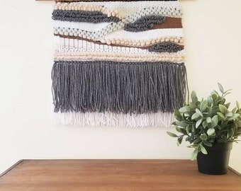 Mixed woven wall hanging - white with black, blue, and ivory -  fringe, blacksheep