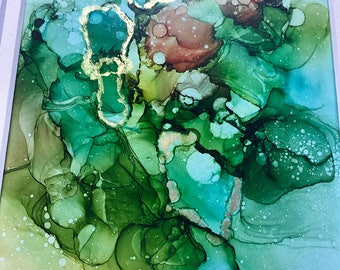 ORIGINAL Abstract Gold Accent Alcohol Ink Painting with Mat -- Wall Decor, Ink Art, Modern Art, Matted Painting