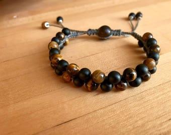 Gemstone beaded bracelet with shamballa macrame