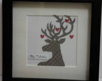 Valentine Stag Picture, Gift for him,Wall Art, Box Frame,Valentines day Gift,Papercraft,Tartan