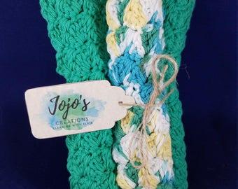 Crochet washcloths, kitchen dishcloths, cotton washcloths, green, yellow, white washcloths