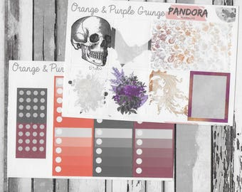 Grunge Sticker Kit / Planner Stickers, Erin Condren, EC, Pagan, Witch, Wicca, Hoodoo, Trad, Magick, Occult, Grimoire, Book of Shadows / ()