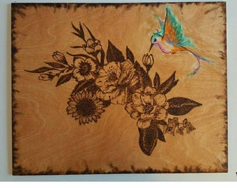 Pyrography Flowers with Hummingbird
