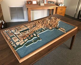 Chicago Cityscape Reclaimed Wood Wall Art Sculpture