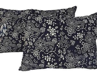 Indigo Shanghai Batik Foo Dog Pillows~Pair