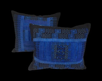 Chinese Silk Hill Tribe Indigo Handwoven Textile Pillows - A Pair