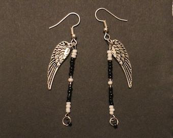 black and white earrings angel wings