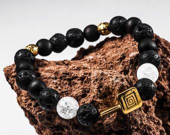 Mens Beaded Bracelet, Lava Stone Bracelet for Men with mountain crystal bead, Bracelet with Energy stone, Broken glass bracelet