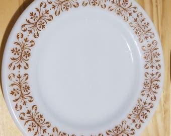 Pyrex Copper Filigree Milk Glass Dinner Plate