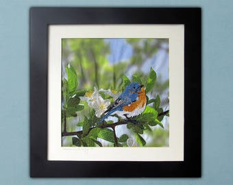 Bluebird and Crabapple Blossoms - Framed Thread Painting - Modern Quilted Wall Art in Spring Tones