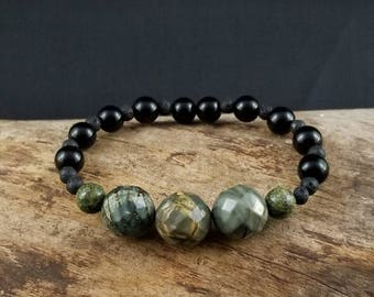 Onyx, Picture Jasper, and Lava Rock beaded bracelet