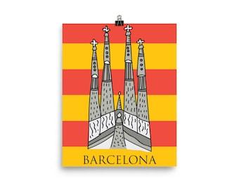 Barcelona Sagrada Familia and Flag Poster, Spain Poster, Barcelona Poster