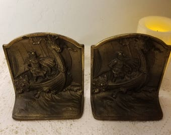 Cast iron Viking book ends
