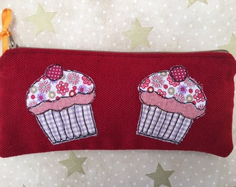 Cupcake Free Motion Embroidery Pencil Case