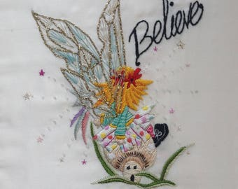 The toadstool fairy hand made embroidery picture