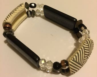 Brown ivory and beaded two hole bracelet