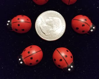 Wood Painted Cute Ladybugs 6 Pieces for charms/earrings/necklaces/ hairbow/scrapbooking /crafts, etc.