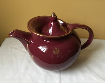 "Vintage ""Hall"" Teapot Maroon with Gold Flowers and Trim"