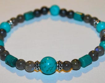 Mens Turquoise bracelet and Labradorite