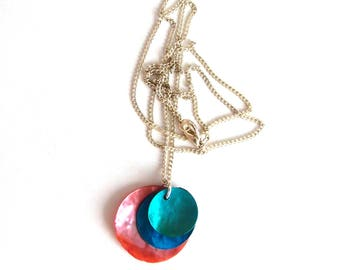 Necklace - turquoise - Pink mother of Pearl sequins