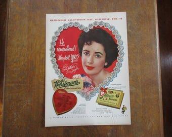 1953 Original Vintage Valentine Whitman's Chocolate ad featuring Elizabeth Taylor
