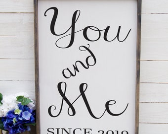 You and Me Wood Sign, French Country Style Sign, Farmhouse Decor, Rustic Farmhouse Sign Decoration, Wooden Wedding Sign Decoration, You & Me