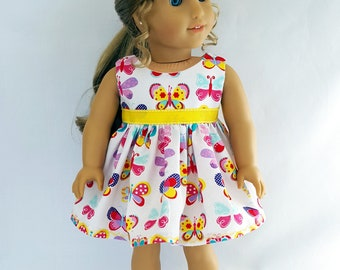 "Butterfly Easter dress fits 18"" dolls such as American Girl"