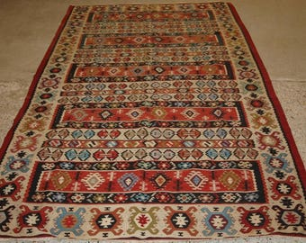 Old Turkish Sarkoy Kilim Rug, Ivory Boarder, Banded Design, Superb Colours, Circa 1920