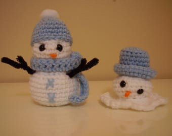 Snowman and Melting Snowman decoration ornament hand crocheted